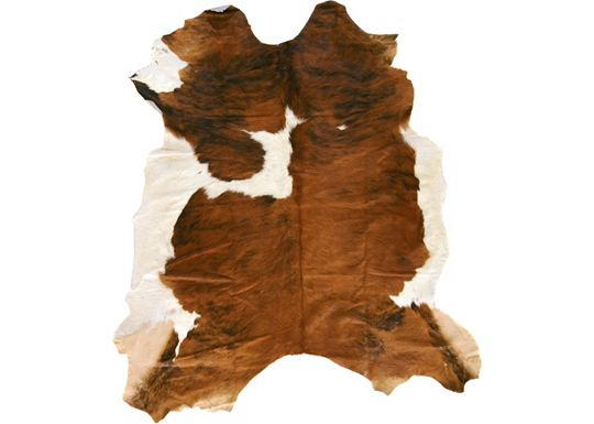 Accessories - Natural Cow Hide Rug - Brown/White