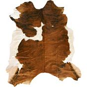 Natural Cow Hide - Brown/White Rug - 7'Sq
