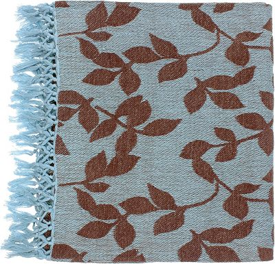 Accessories - Satara Throw - Sky Blue/Brown