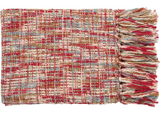 Accessories - Normandy Throw - Red/Sky/Ivory