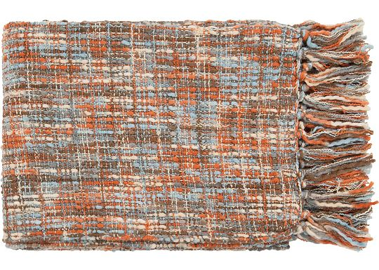 Accessories - Normandy Throw - Rust/Ivory/Light Blue