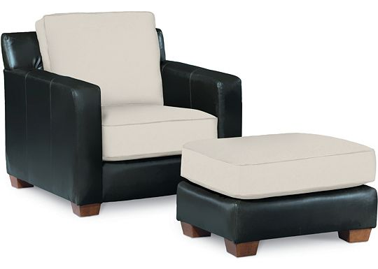 Metro Chair and Ottoman (Leather: 0511-10, Fabric: 1313-02)