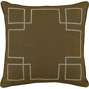 Leon Chestnut with Sage Ribbon Throw Pillow