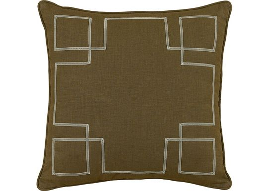 Accessories - Leon Chestnut with Sage Ribbon Throw Pillow