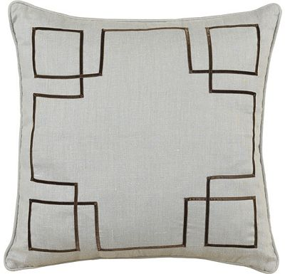 Accessories - Breeze Slate with Brown Ribbon Throw Pillow