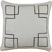 Breeze Slate with Brown Ribbon Throw Pillow