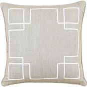 Breeze Linen with Ecru Ribbon Throw Pillow