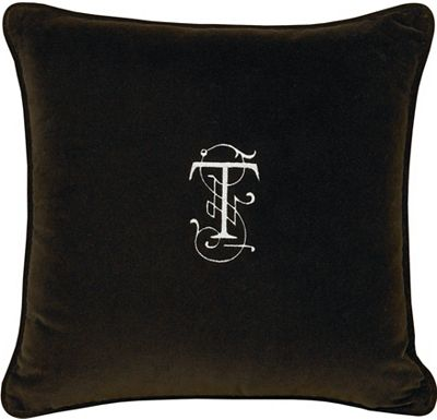 Accessories - Jackson Brown with Monogram Throw Pillow