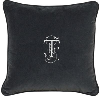 Accessories - Jackson Charcoal with Monogram Throw Pillow