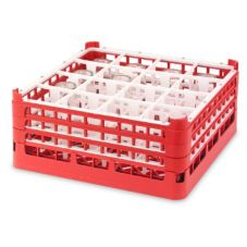 Full Size Tall 16-Compartment Glass Rack, Red, 19-3/4x19-3/4x7