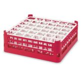Full Size Medium Plus 36-Compartment Glass Rack, Red
