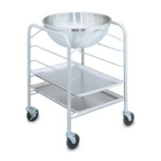 S/S Mobile Bowl Stand w/ Tray Slides and 30 Qt Mixing Bowl, 22x22x32