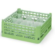 Vollrath 5276311 Full Size Light Green X-Tall 9-Compartment Glass Rack