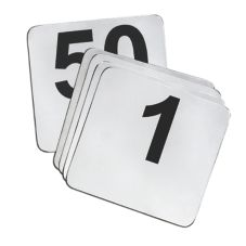 Tablecraft N150 Stainless 1-50 Card Number Set with Black Numbers