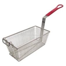 Adcraft® FBR-13612 Red Handle Nickel Plated Fry Basket