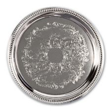 "Adcraft® 14"" Round Chrome Plated Cater Tray"