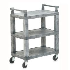 Open 3-Shelf Utility Cart w/ Plastic Uprights, Gray