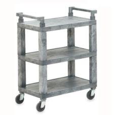 Vollrath® 97112 Open 3-Shelf Gray Utility Cart w/ Plastic Uprights