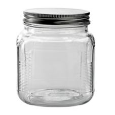 Anchor Hocking 85812R 32 oz Brushed Aluminum Lid Cracker Jar - 4 / CS