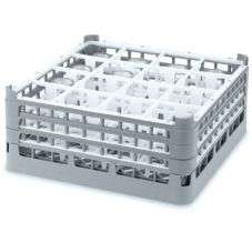 Full Size Medium Plus 16-Compartment Glass Rack, Gray