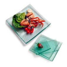 "Orion A10601 10.25"" x 5.75"" Glacier Textured Glass Plate"