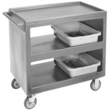 Cambro Light Gray Open Side 3-Shelf Service Cart w/ Four Casters, 37 W