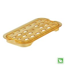 Rubbermaid® FG113P00AMBR Amber 1/4 Size Hot Food Pan Drain Tray