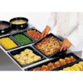 "Rubbermaid Black 1/2 Size Long Hot Food Pan, 2½"" H"