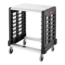 Rubbermaid Max System Black 8-Slot Side Load Prep Cart w/Cutting Board