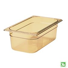 "Rubbermaid® FG217P00AMBR Amber 1/3 Size Hot Food Pan, 4"" H"