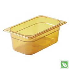 "Rubbermaid Amber 1/4 Size Hot Food Pan, 4"" H"