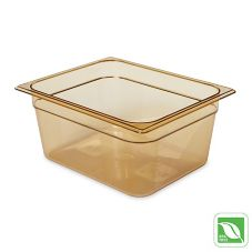 "Rubbermaid® FG225P00AMBR Amber 1/2 Size Hot Food Pan, 6"" H"