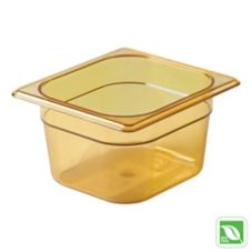 "Rubbermaid® FG205P00AMBR Amber 1/6 Size Hot Food Pan, 4"" H"