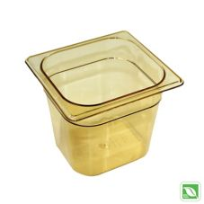 "Rubbermaid® FG206P00AMBR Amber 1/6 Size Hot Food Pan, 6"" H"
