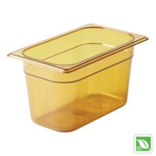 "Rubbermaid® FG212P00AMBR Amber 1/4 Size Hot Food Pan, 6"" H"