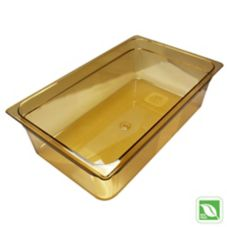 "Rubbermaid Amber Full Size Hot Food Pan, 6"" H"