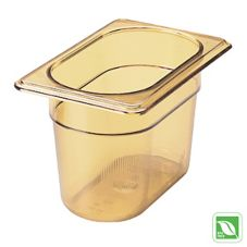 "Rubbermaid® FG201P00AMBR Amber 1/9 Size Hot Food Pan, 4"" H"