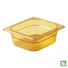 "Rubbermaid Amber 1/6 Size Hot Food Pan, 2½"" H"