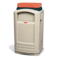 Rubbermaid® FG396300BEIG Plaza 50 Gal Trash Container w/ Tray Top