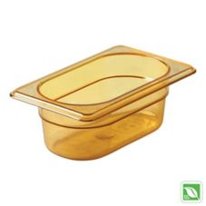 "Rubbermaid Amber 1/9 Size Hot Food Pan, 2½"" H"