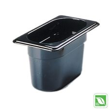 "Rubbermaid® FG201P00BLA Black 1/9 Size Hot Food Pan, 4"" H"