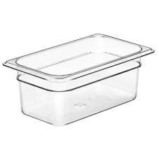 "Cambro® 44CW135 Clear 4"" H Camwear® 1/4 Size Food Pan"