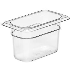 "Cambro Clear Camwear® 1/9 Size Food Pan, 4"" H"