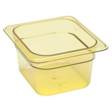 "Cambro® 64HP150 Amber 1/6 Size High Heat 4"" H-Pan™"