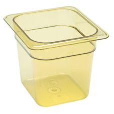 "Cambro Amber 1/6 Size High Heat H-Pan™ 6"" H"