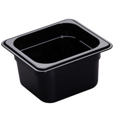 "Cambro® 64HP110 Black 1/6 Size High Heat 4"" H-Pan™"