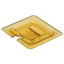 Cambro 60HPCHN150 Amber 1/6 Size Notched H-Pan Cover with Handle