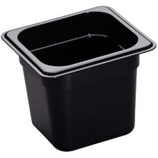 "Cambro Black 1/6 Size High Heat H-Pan™ 6"" H"
