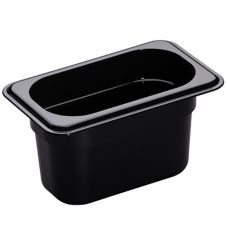 "Cambro Black 1/9 Size High Heat H-Pan™ 4"" H"