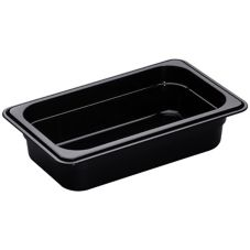 "Cambro® 42HP110 Black 1/4 Size High Heat  2-1/2"" H-Pan™"
